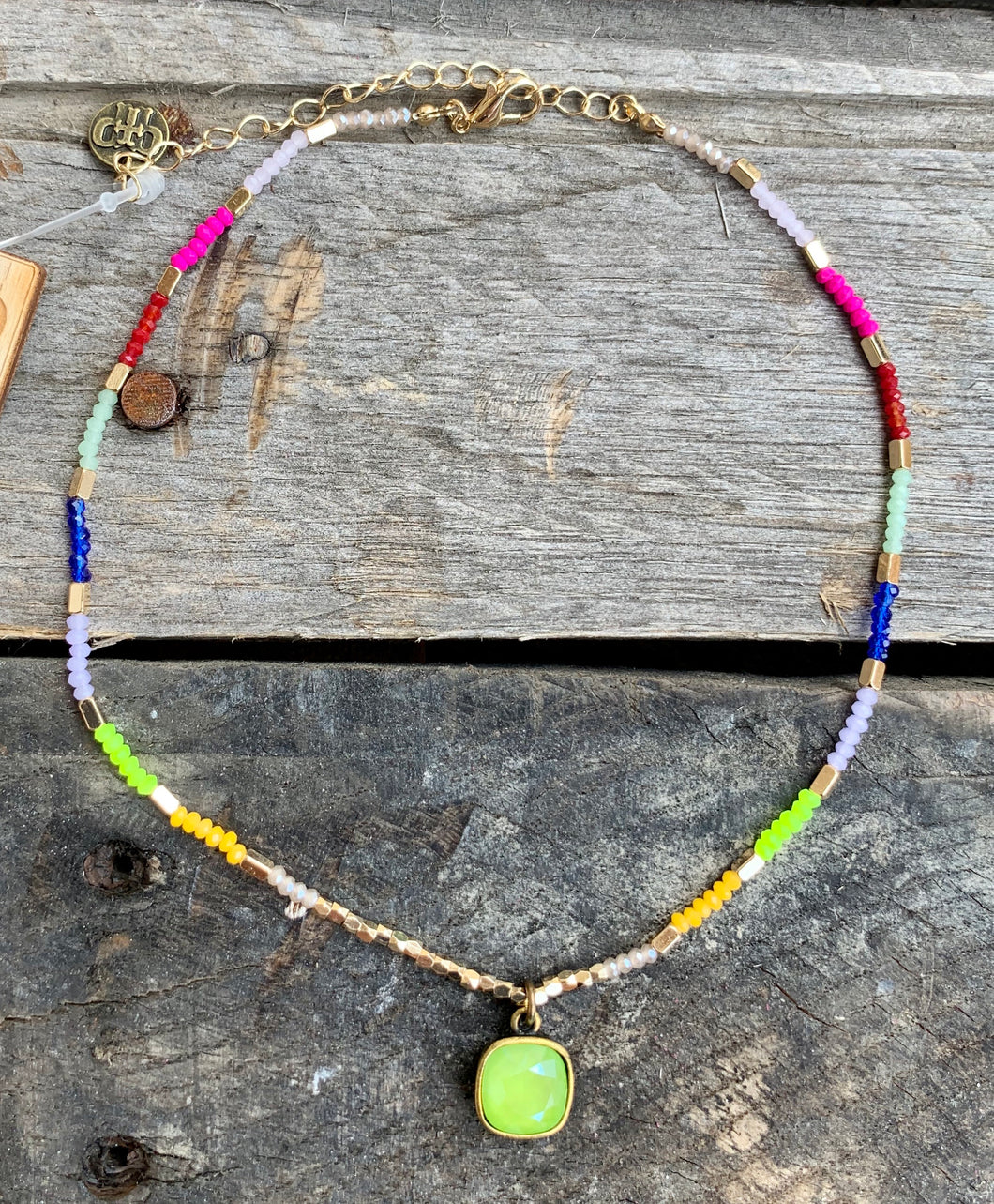 Rainbow & Lime Pendant Choker Necklace