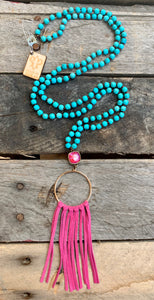 Turquoise Fuschia Ring & Fringe Necklace