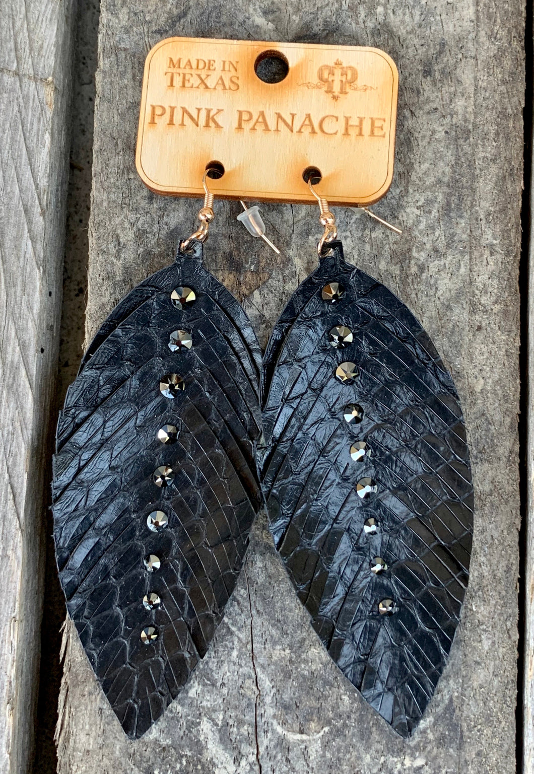 Black Studded Feather Earring