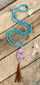Bright Serape Feather Necklace
