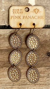Bronze & Gold 3 Oval Earrings