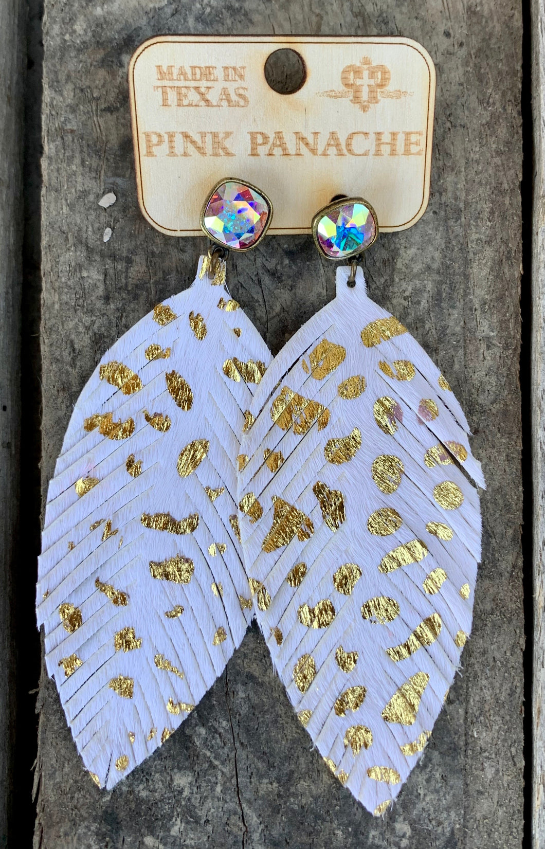 White & Gold Foil Cheetah Feather Earring