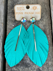 Turquoise Rod Feather Earring