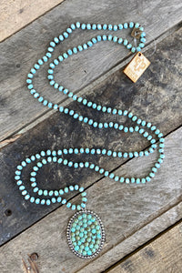 Turquoise Oval on Crystal Bead Necklace