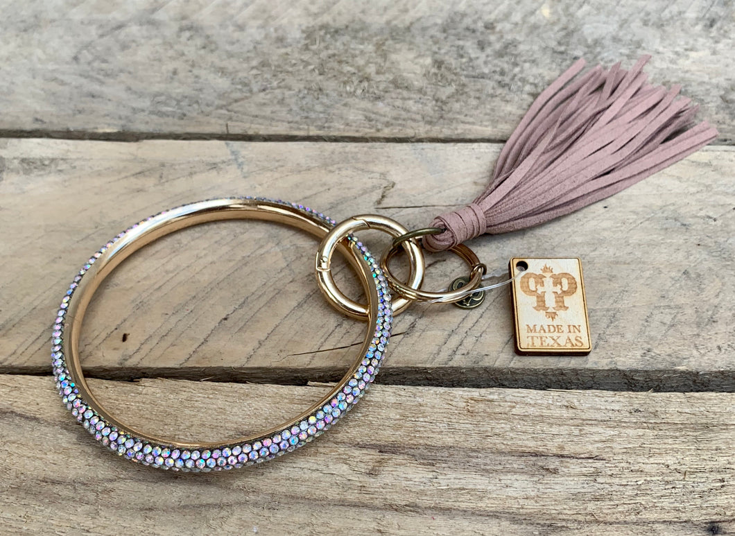 Iridescent & Blush Fringe Bangle Keychain