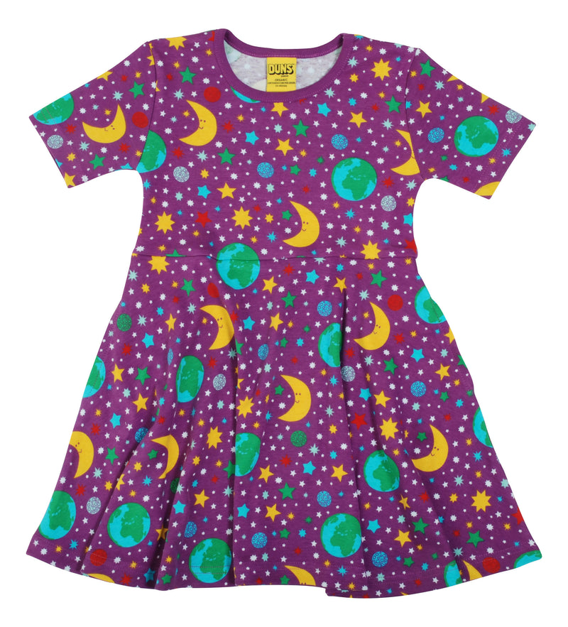 Short Sleeve Skater Dress - Mother Earth - Bright Violet