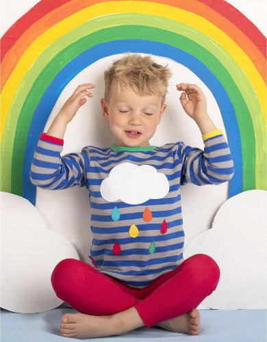 Rainbow Raindrop Cloud Applique LS T-Shirt