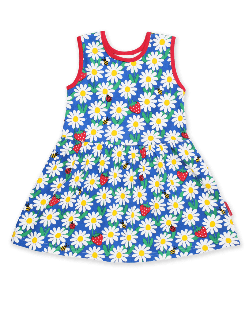 Blue Daisy Print Summer Dress