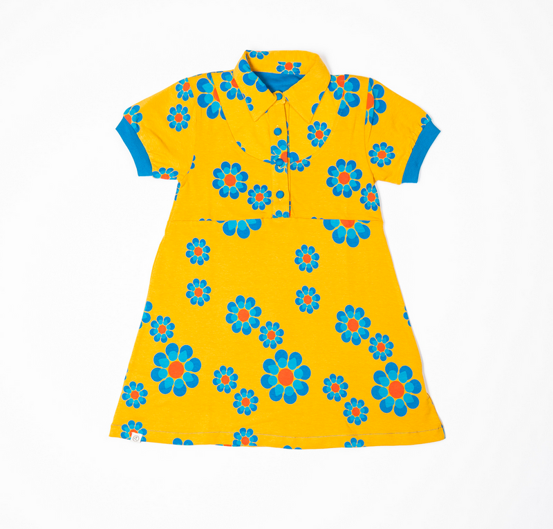 Julie Dress - Bright Gold Flower Power Love