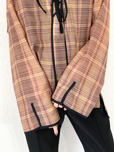 SHEER CHECK LACE UP HOODIE
