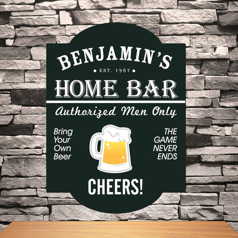 A black bar sign that says Benjamin's home bar authorized men only cheers