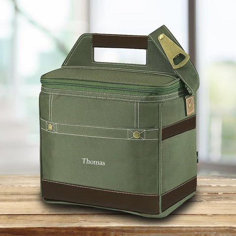 Personalized green trail cooler that has the name Thomas on the front