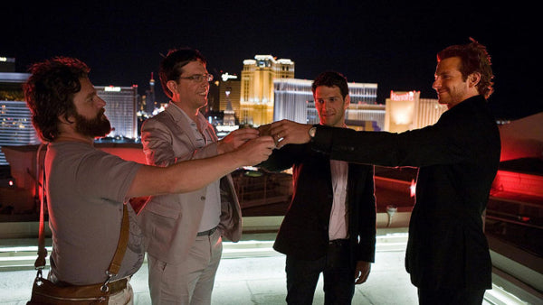 A scene from The Hangover with the Wolfpack toasting on the roof at Caesars Palace