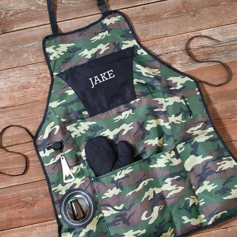 A Personalized Camouflage Printed Premium Grilling Apron that says Jake on the front