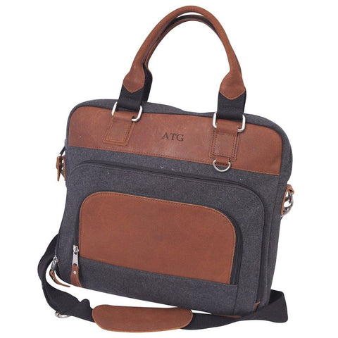 Wool and Leather Laptop Bag