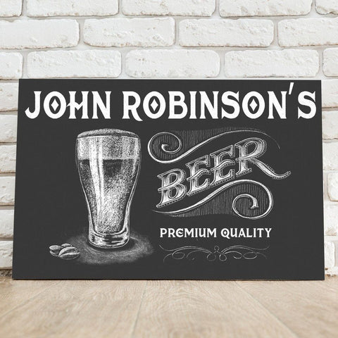 A black bar sign that says John Robinson's Beer Premium Quality