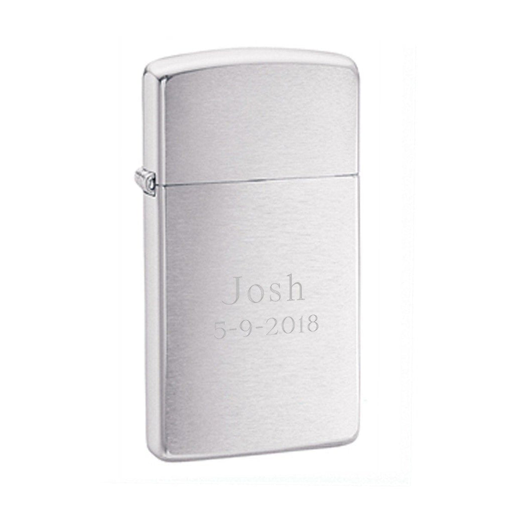 Engraved Brushed Chrome Zippo Slim Lighter