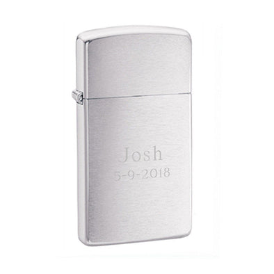 Engraved Brushed Chrome Zippo Slim Lighter-Default-