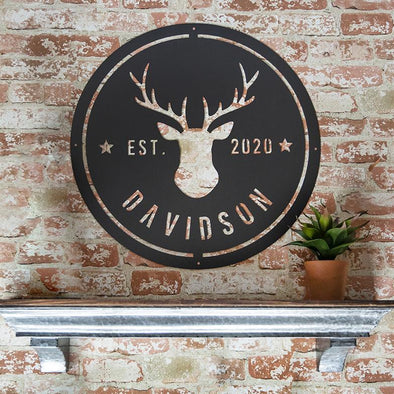 Personalized Family Name Metal Sign with Antlers – Davidson Design