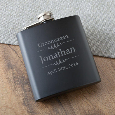 Groomsmen Black Matte Flask