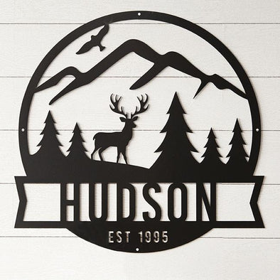Family Name Metal Sign with Mountain Scene – Hudson Design