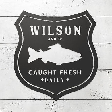 Personalized Metal Sign with Fish – Wilson Design