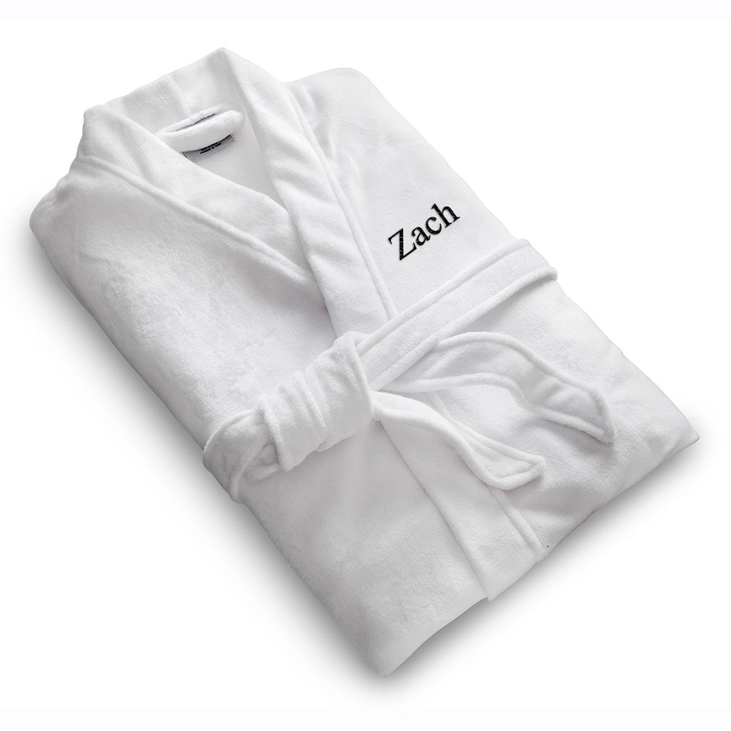 Personalized White Microfiber Robe