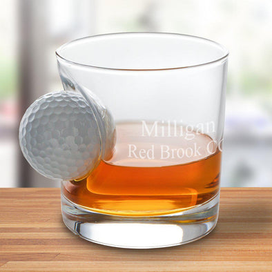 8 oz. Personalized Whiskey Lowball Glass with Golf Ball