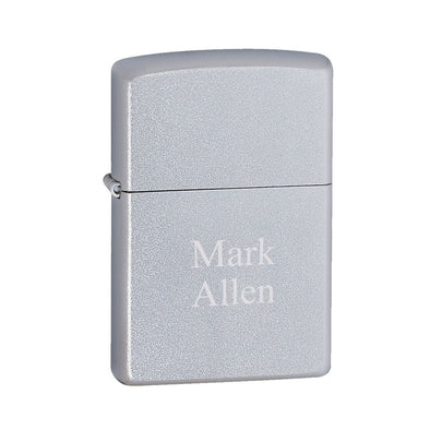 Personalized Lighters - Zippo - Satin Chrome-2Lines-