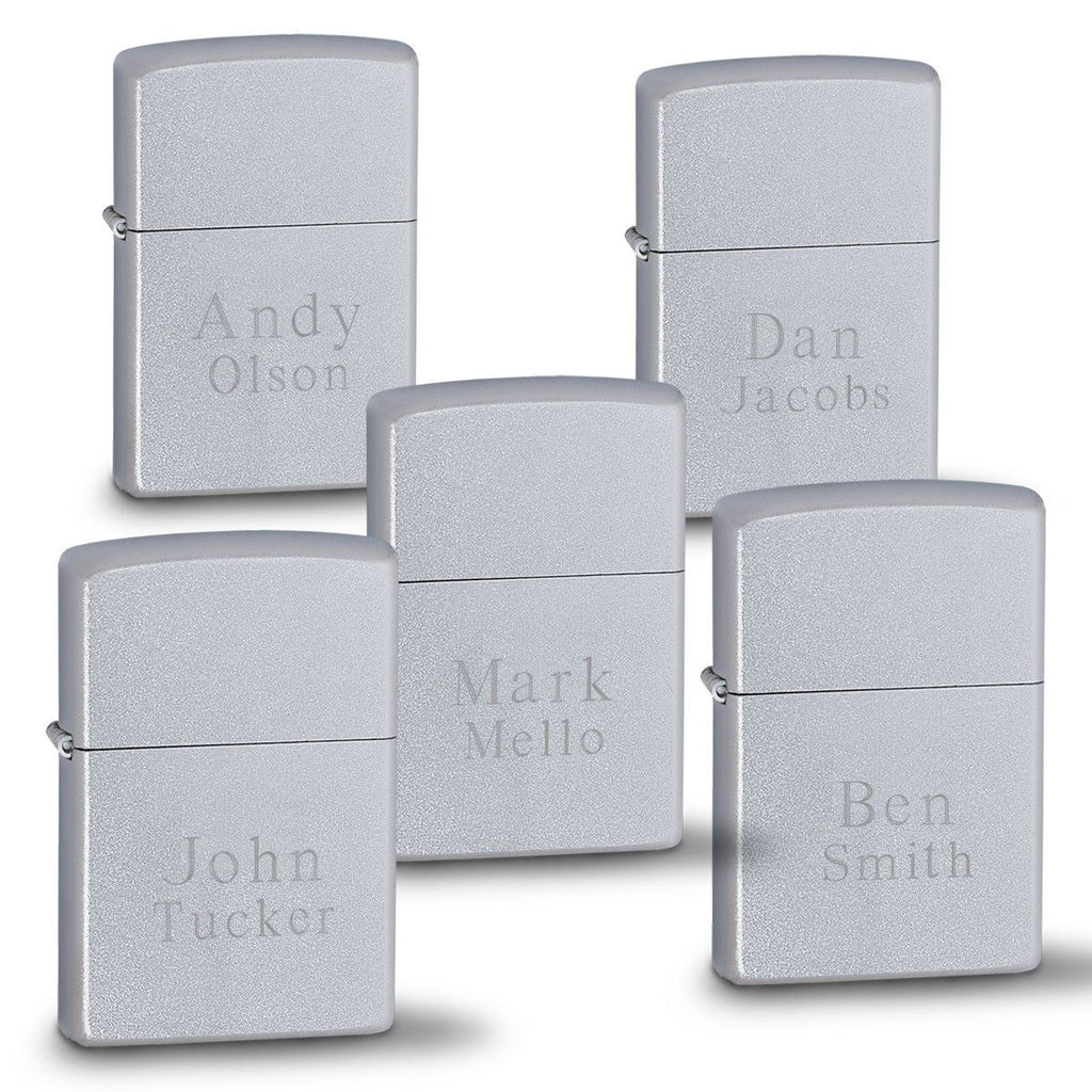 Zippo Satin Chrome Lighters - Set of 5 - Personalized Chrome Lighters for Groomsmen