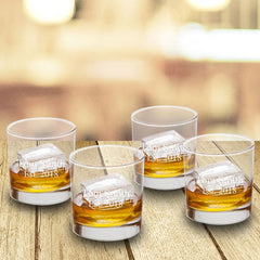 Personalized Lowball Whiskey Glasses - Mongrammed Whiskey Glasses for Groomsmen - Set of 4-2lines-
