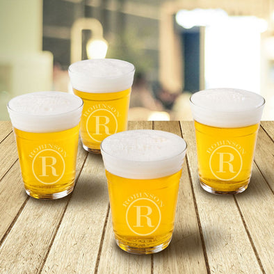 Personalized Beer Cup Glasses - Monogrammed Beer Glasses for Groomsmen Gifts - Set of 4-Circle-