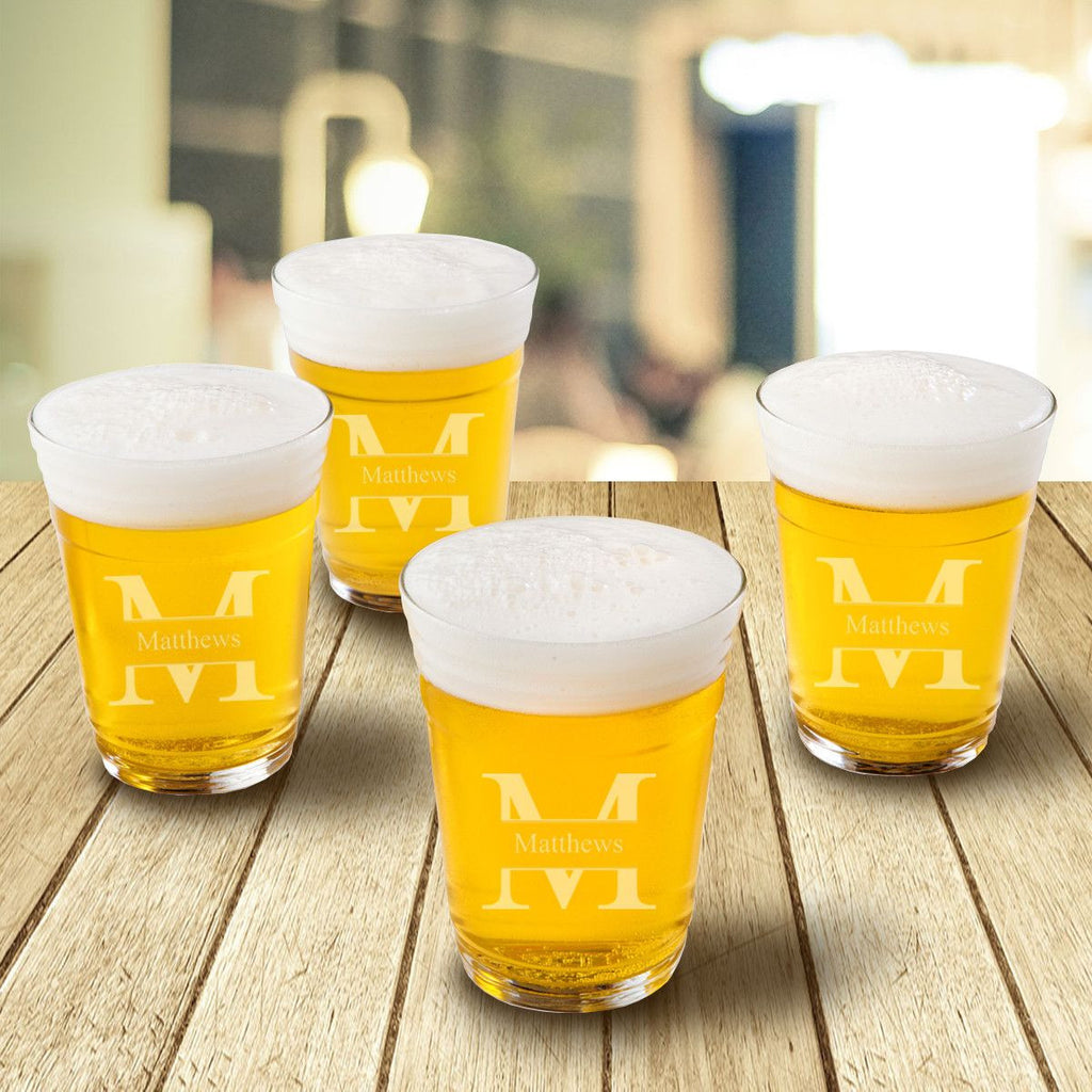 Personalized Beer Cup Glasses - Monogrammed Beer Glasses for Groomsmen Gifts - Set of 4