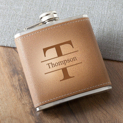 Personalized Tan Stitched-Hide Flask