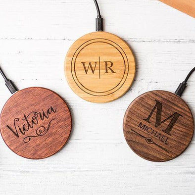 Personalized Wooden Wireless Cell Phone Chargers