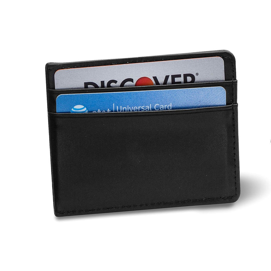 Personalized Black Leather Wallet & Chrome Lighter Set
