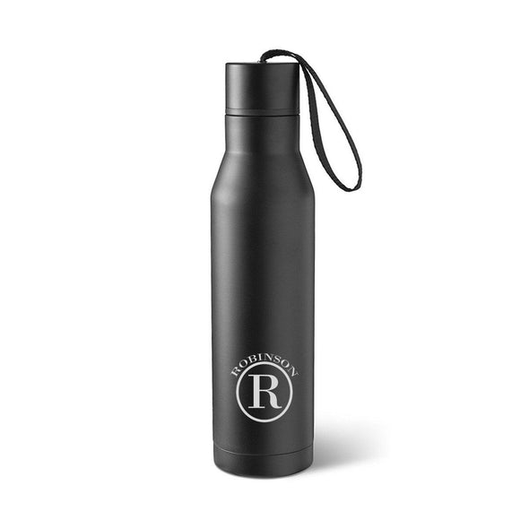 Personalized Black Stainless Steel Thermos Style Waterbottle-Circle-