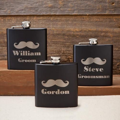 Personalized Flasks - Matte Black - Mustache - Groomsman - 6 oz.-1+-