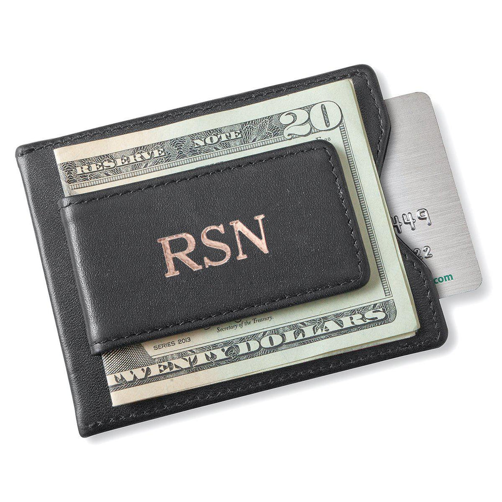Personalized Groomsman Wallet - Magnetic Money Clip - Black