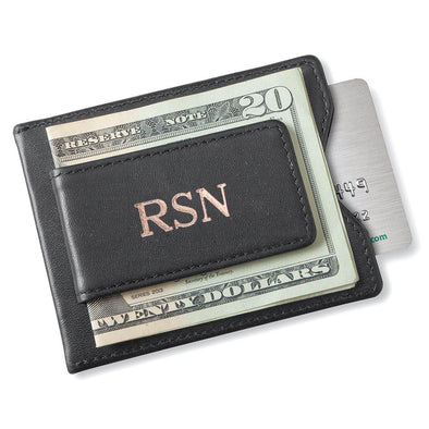 Personalized Groomsman Wallet - Magnetic Money Clip - Black-RoseGold-
