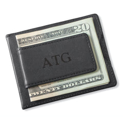 Personalized Groomsman Wallet - Magnetic Money Clip - Black-Blind-