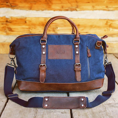 Personalized Blue Canvas and Leather Weekender Duffel Bag