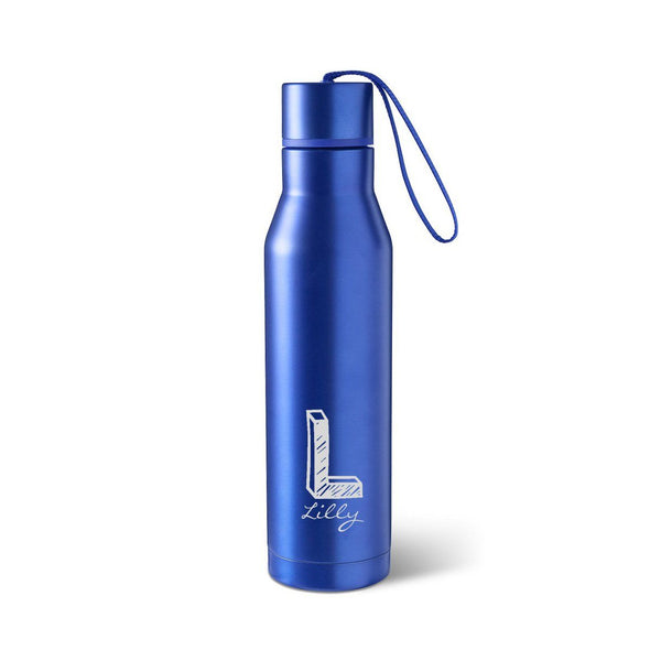 Personalized Blue Stainless Steel Thermos Style Waterbottle-Kate-