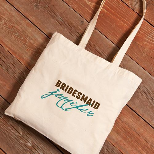 Personalized Canvas Tote - Bridesmaid-Blue-