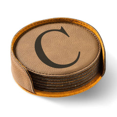 Personalized Dark Brown Round Leatherette Coaster Set