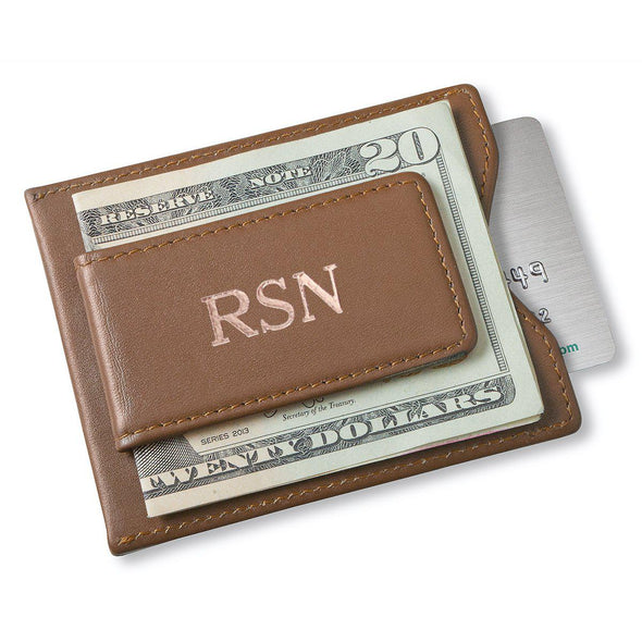 Personalized Groomsman Wallet - Magnetic Money Clip - Brown-RoseGold-