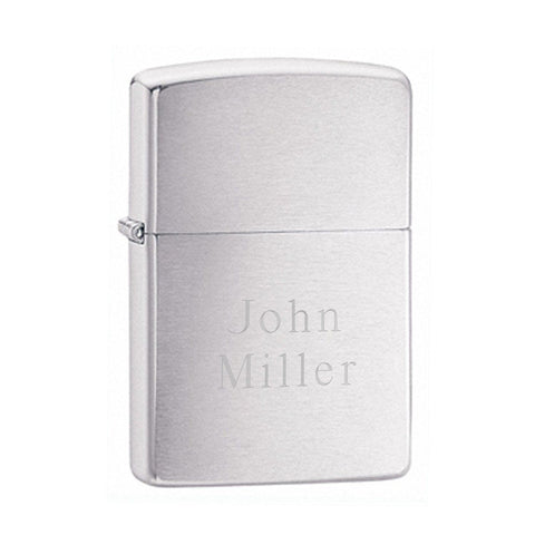 Engraved Brushed Chrome Zippo Lighter