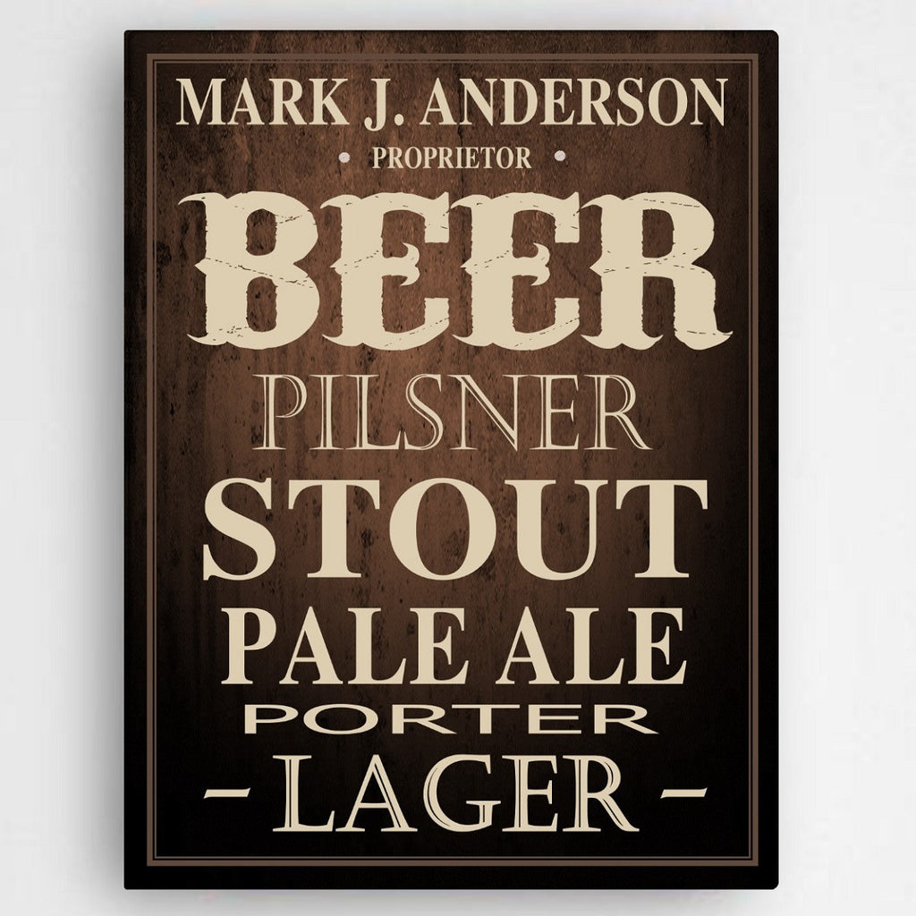 Personalized Beer Canvas Bar Sign