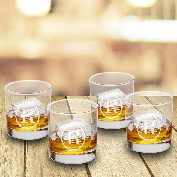 Personalized Lowball Whiskey Glasses - Mongrammed Whiskey Glasses for Groomsmen - Set of 4-Circle-