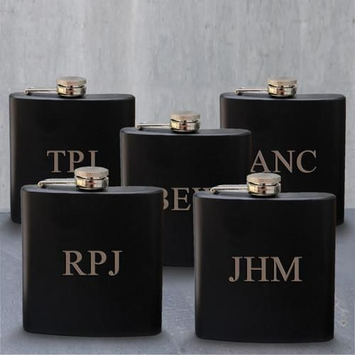 Set of 5 Personalized Black Matte Stainless Steel Groomsmen Flask